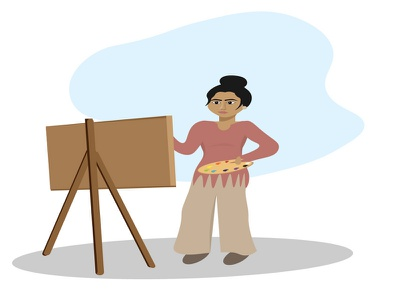 Woman Artist Illustration cartoon character sketch paint cute beautiful colorful illustrator drawing painting girl artist woman vector illustration graphic design
