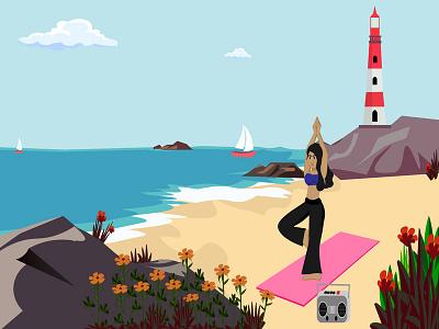 Woman doing yoga on the beach yacht boat music character cartoon cute colorful beautiful relaxing rock lighthouse sea nature seashore beach yoga woman girl vector graphic design