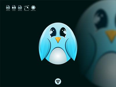 cute pinguin  logo graphic design illustrator vector typography logo illustration icon design branding app