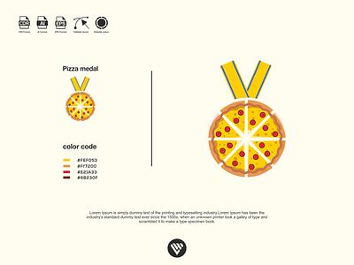 pizza medal logo graphic design illustrator vector typography logo illustration icon design branding app