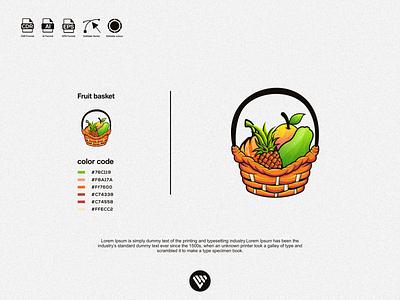 fruit basket logo graphic design illustrator vector typography logo illustration icon design branding app
