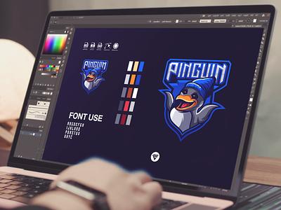 Penguin logo graphic design illustrator vector typography logo illustration icon design branding app