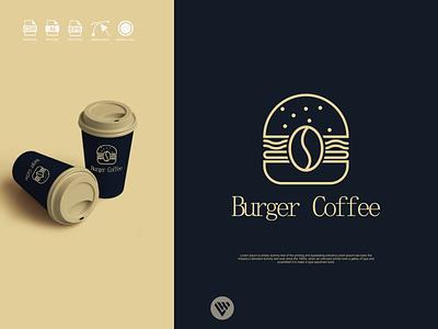 burger coffee logo concept graphic design illustrator vector typography logo illustration icon design branding app