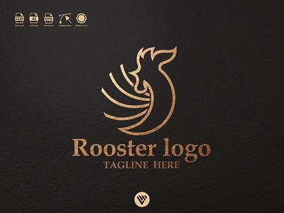Rooster logo vector graphic design illustrator typography logo illustration icon design branding app