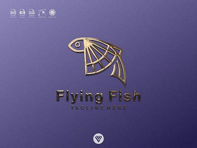 flying fish logo ux vector ui typography illustration icon design app logo branding
