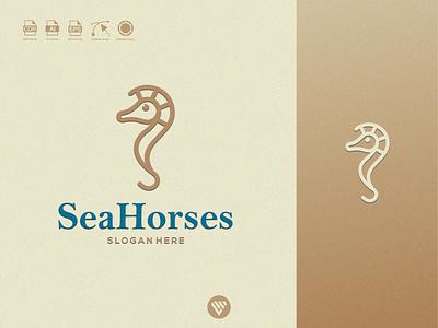 Seahorses logo seahorses ux vector ui typography illustration icon design app logo branding