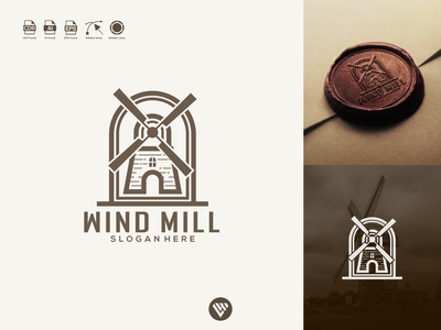 Wind mill logo wind mill ux vector ui typography illustration icon design app logo branding