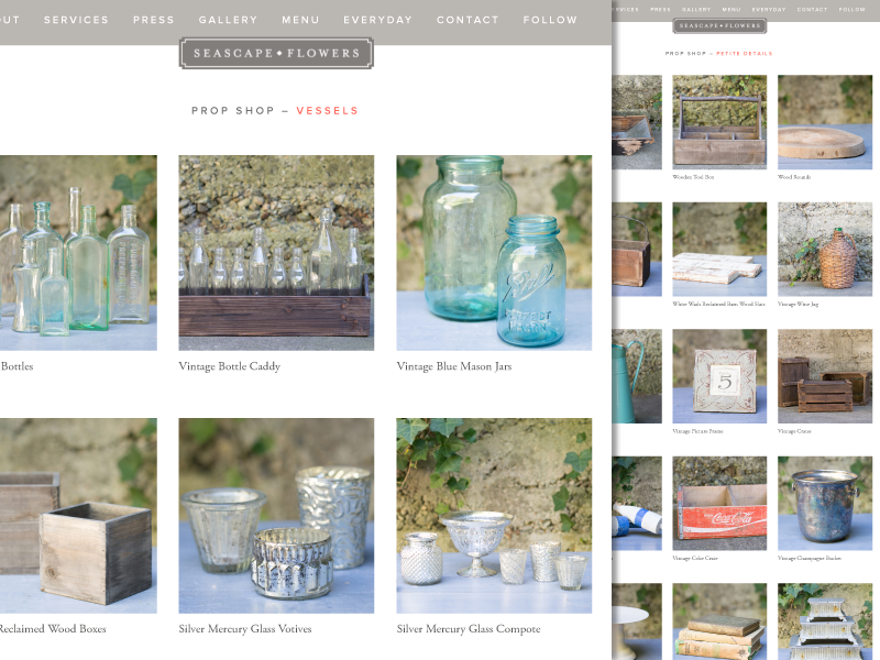 Seascape Flowers | Props website clean responsive ui ux web design web development feminine floral california expressionengine spark creative