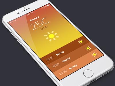 Weather App yellow ios flat ui sunny sun winter app weather