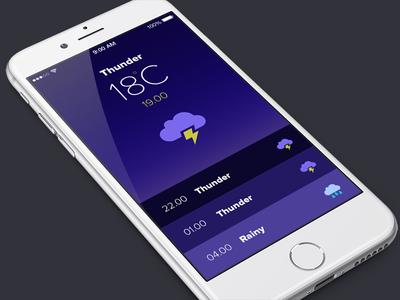Weather App ios flat ui blue thunder app weather