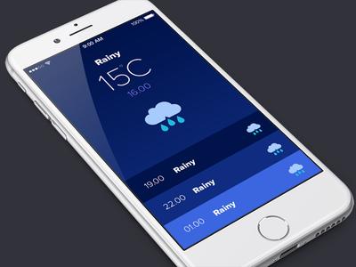 Weather App ios flat ui blue rain app weather