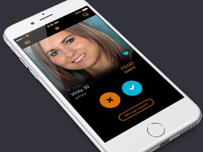 Social Gaming App mobile gaming dating ui orange blue flat ios app game