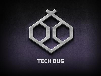 Tech Bug Logo black purple design brackets branding psd logo