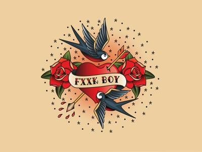 FXXKBOI arrow heart shape lovesickness love swallow badge design floral vector traditional tattoo illustrator illustration flash tattoo