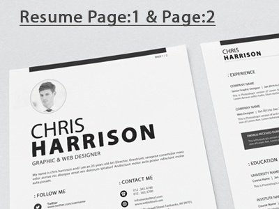 Resume elegant docx design creative corporate letterhead corporate identity colorful clean indd resume ai resume psd resume resume
