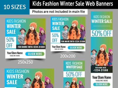Kids Fashion Winter Sales Banners promotion new year sale marketing kids fashion holiday flat banner christmas sale christmas banners banner template banner design banner ad advertising ads ad