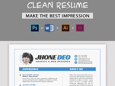 Resume CV Indesign Indd Illustrator Idml Eps File Elegant Editable