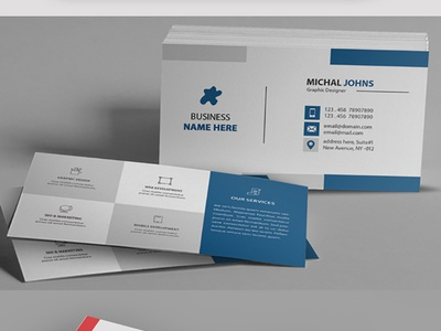 Business Card professional personal modern mengloong horizontal design creative corporate cool clean business card business blue black