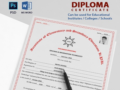 Diploma Certificate diploma marks sheet college institute information technology dit school certificate commendation certificate educational certificate certificate