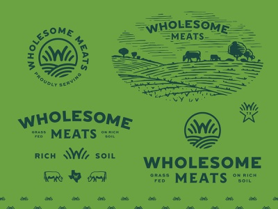Wholesome Meats - Brand System farm hills san antonio texas grass-fed logotype logo branding design brand identity badge wholesome meat vector meats cow illustration branding