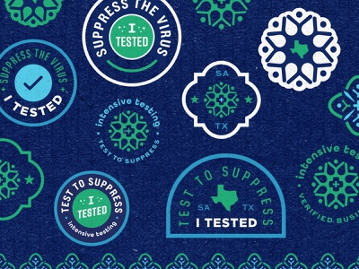 Intensive Testing - Brand Elements dna patch badge logo texas pattern tile san antonio intensive testing stickers science branding brand design social campaign