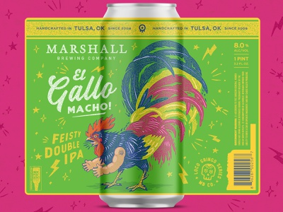 El Gallo Macho oklahoma texas beer can design el gallo mexican feathers san antonio marshall brewing little jerry rooster beer can beer branding tulsa craft beer