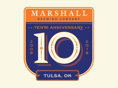Marshall Brewing - 10 Years! badge 10 craft beer marshall brewing tulsa