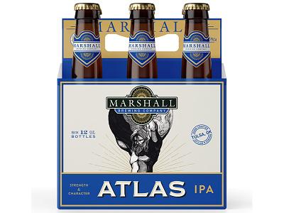 Marshall Brewing Atlas IPA package design beer six pack tulsa craft beer