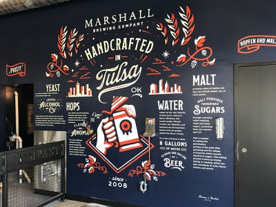 Marshall Brewing – Tap Room beer branding beer mural craft beer marshall brewing tulsa