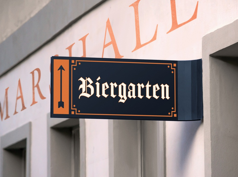 Biergarten Sign exterior design arrow blackletter beer branding signage tulsa craft beer