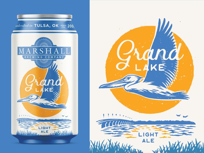 Grand Lake Light Ale packaging design merchandise tshirt illustration water bird light ale oklahoma grand lake pelican beer branding beer art beer can craft beer