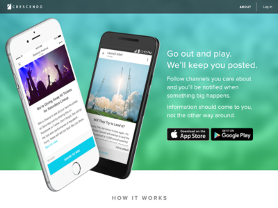 Crescendo Homepage Design V2  push notifications ui homepage startup app web landing page