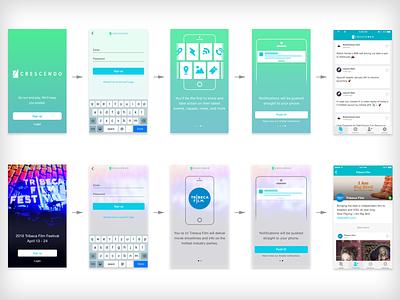 Crescendo Onboarding push notification visual design design deep linking onboarding ios app design ui ux