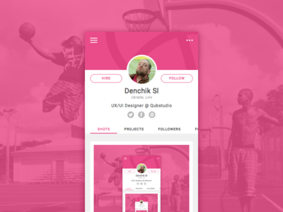 Shot Shot Shot Den Sl profile photoshop navigation app mobile ios invitation interface rebound dribbble debut