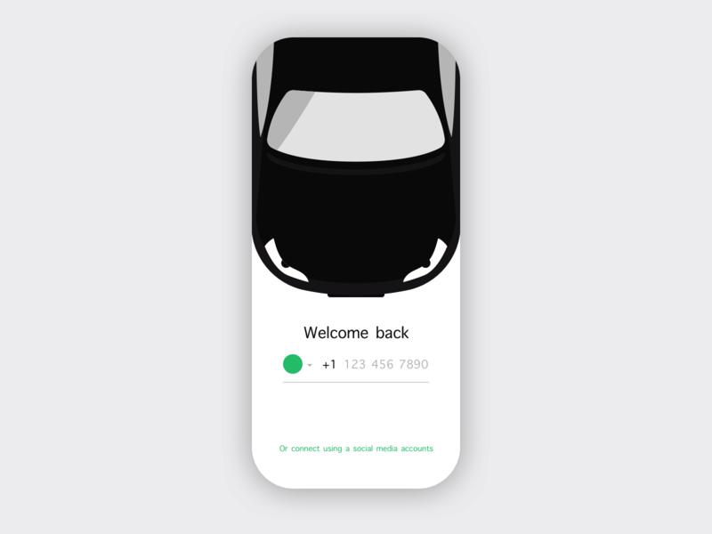 Car Sharing Sign-in Concept car black ui mobile ios illustration