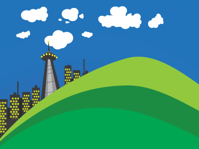 Vector City toronto gradient clouds city hills rushed cartoon vector