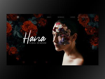 Floral Designer Concept roses black red dark floral florist hero section website ux design design