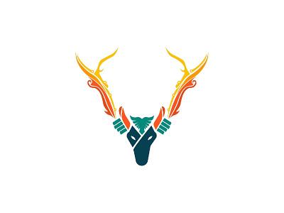 Deer Fighter Logo logo design digital art vector art hand fire sword war fighter deer vector illustration identity visual identity designs branding indonesia designer brand identity brand design logo graphic design