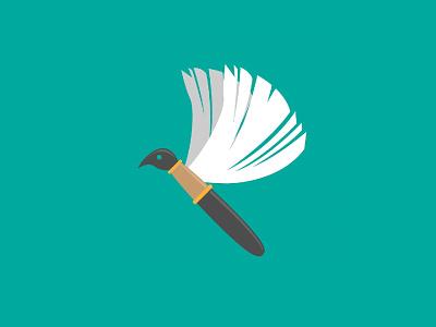 Writer Bird Logo brush writer write book pencil pen bird flat illustration flat design logo design vector identity visual identity designs branding indonesia designer brand identity brand design logo graphic design