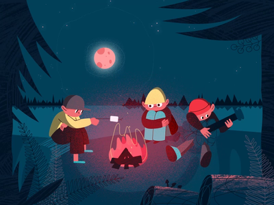 Summer Camp Animation motion graphics motion design school marshmallow plant star after effects grain shadow people motion gif illustration night rig moon character guitar fire loop animation