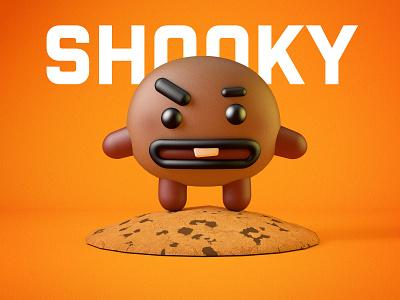 Shooky Stand on Biscuit character branding icon illustration ui ux 3d 3d art 3d artist c4d render model modelling sweet cake chocolate biscuit cookies bts shooky