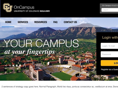CU-Bolder OnCampus Housing and Dining Portal Homepage home helvetica neue black gold blue colorado boulder education college mountain photo
