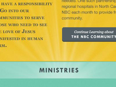 Church Website tw cen mt georgia gray yellow gold teal light brush button type