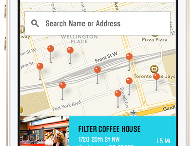 Waitscape App Concept Location Screen app block gothic iphone ui flat search map list coffee startup
