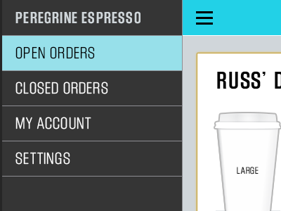 Waitscape Merchant Side App app order block gothic iphone ui flat pos search map list coffee startup
