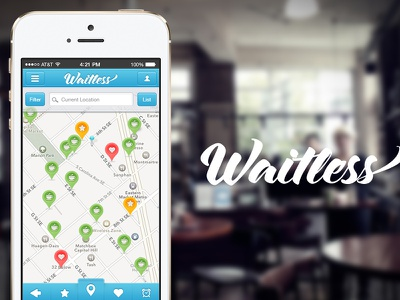 Waitless App Concept- Redesign from StartUp Weekend DC app concept startup coffee map search iphone ui