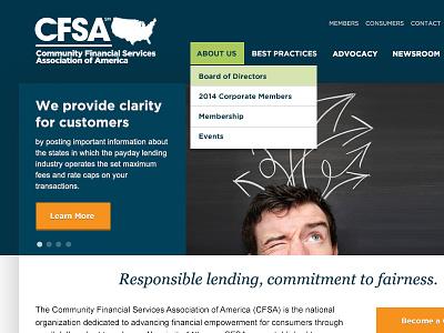 CFSA Redesign gotham homepage georgia italic navigation dropdown finance orange button header campaign