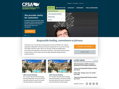 CFSA Redesign finance homepage web dropdown menu navigation gotham georgia italic
