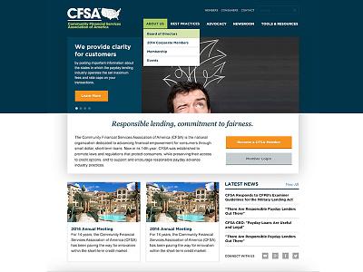 CFSA Redesign finance homepage web dropdown menu navigation gotham georgia italic