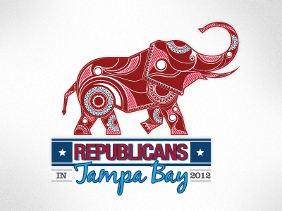 RNC Party Logo Option 3 rnc republican political skyline star stripes clarendon blackjack helvetica neue bold condensed red white blue tampa bay logo